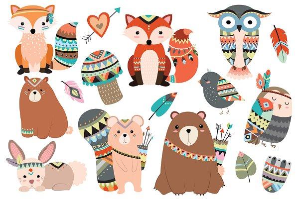 Woodland Tribal Animals Vector & PN…