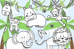 Zoo Animals Digital Stamps