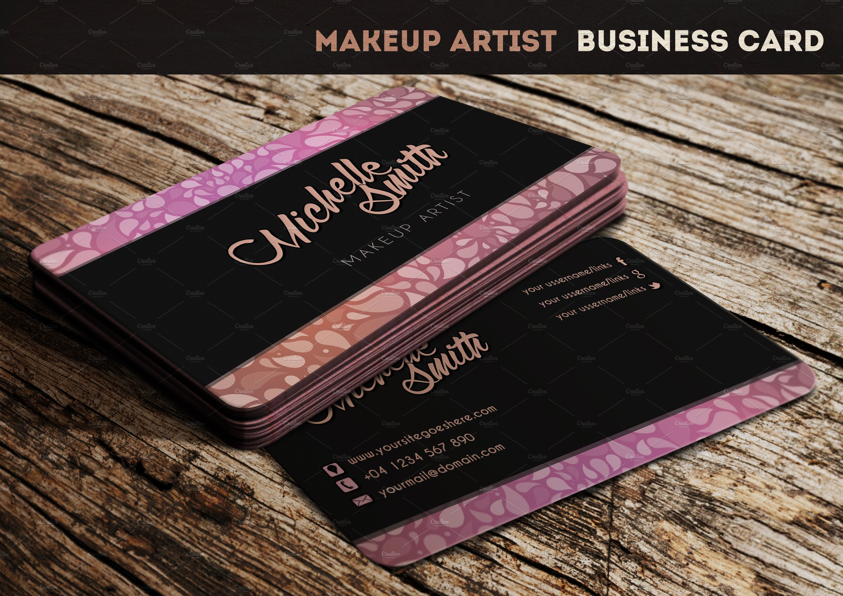 Makeup artist business card business card templates creative market colourmoves