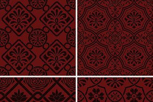 Vector seamless floral patterns, ind