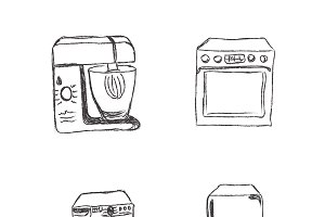set of kitchen appliences, vector
