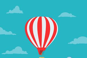 air, balloon, vector, illustration