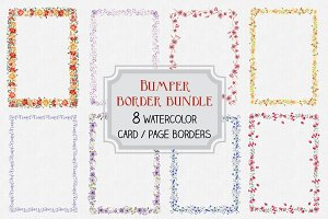Watercolor clip art bundle:8 borders